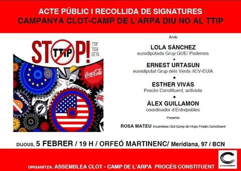 NO TTIP Clot-Camp de l'Arpa