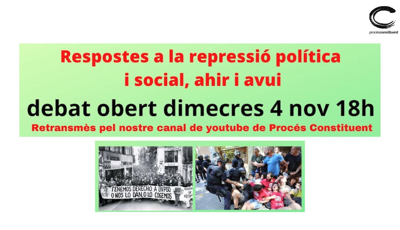 Debat obert: respostes a la repressió política i social  amb Anaïs Franquesa (Centre Irídia), Jaime Palomera (Sindicat Llogateres) i Sara Cuentas  (Escola Feminista Descolonial)