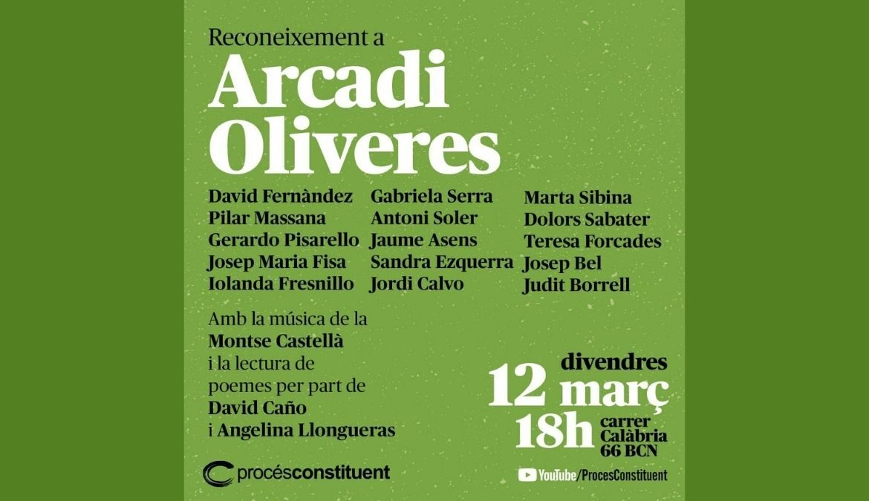 Acte de reconeixement a Arcadi Oliveres organitzat per Procés Constituent